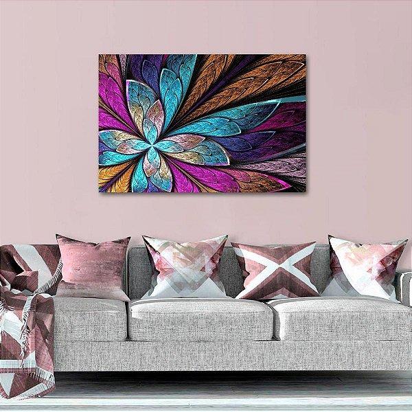 Quadro Abstrato Vitral Colorido Flor ou Borboleta