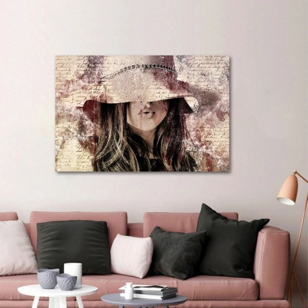 Quadro Abstrato Vintage A Mulher do Chapéu decorativo