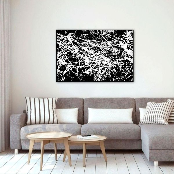Quadro Arte Abstrata Moderna em Preto e Branco