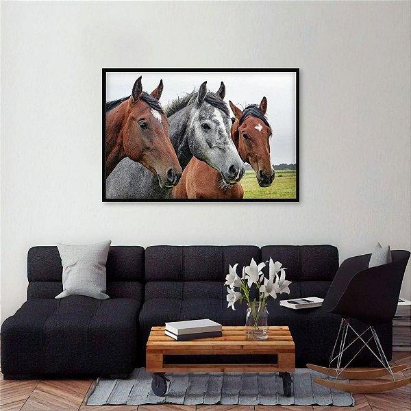 Quadro Arte Paisagem Trio de Cavalos Animais