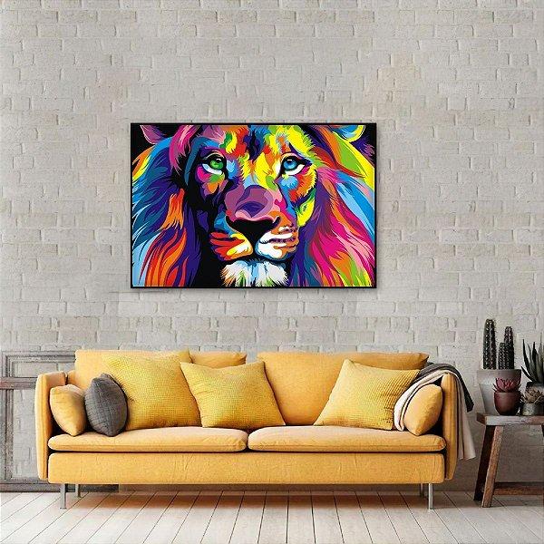 Quadro Leão Moderno Multicolorido decorativo