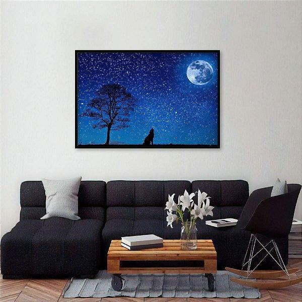 Quadro O Uivo do Lobo com Lua e Céu Estrelado decorativo