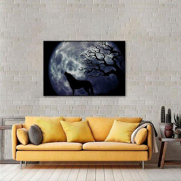 Quadro O Uivo do Lobo em Lua Cheia Artístico
