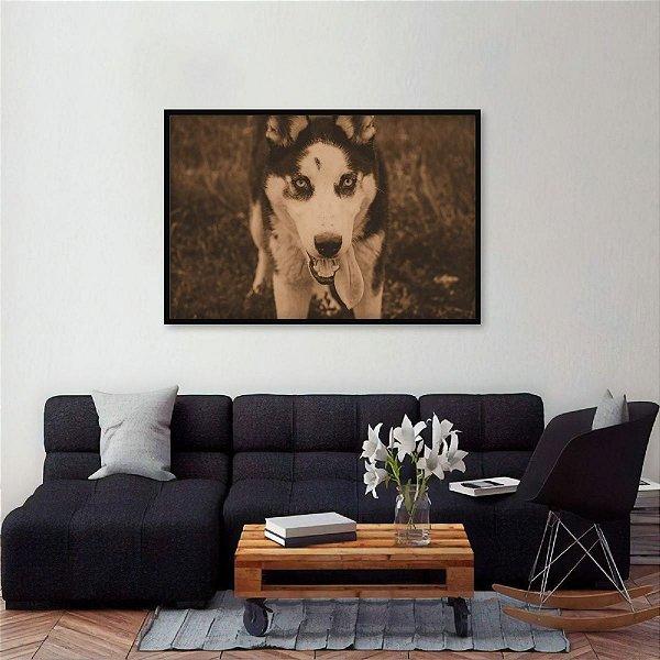 Quadro Husky Siberiano Cachorros Tom Sépia