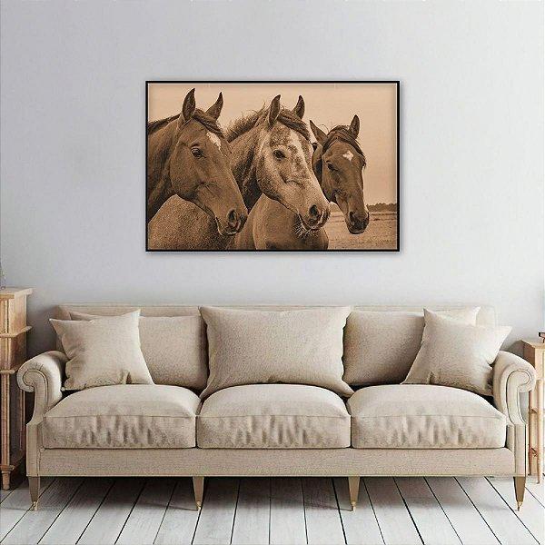 Quadro The Horse decorativo Trio de Cavalos Sépia