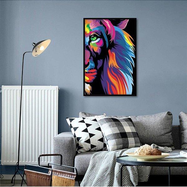 Quadro Leão de Judá Colorido Moderno decorativo