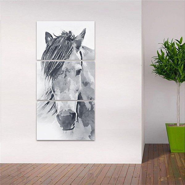 Quadro Cavalo Animais Artístico em Preto e Branco Design Vertical