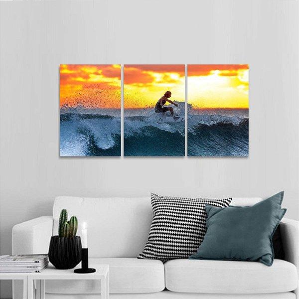 Quadro Mar Ondas Surf Jogo 3 Peças Pôr do Sol