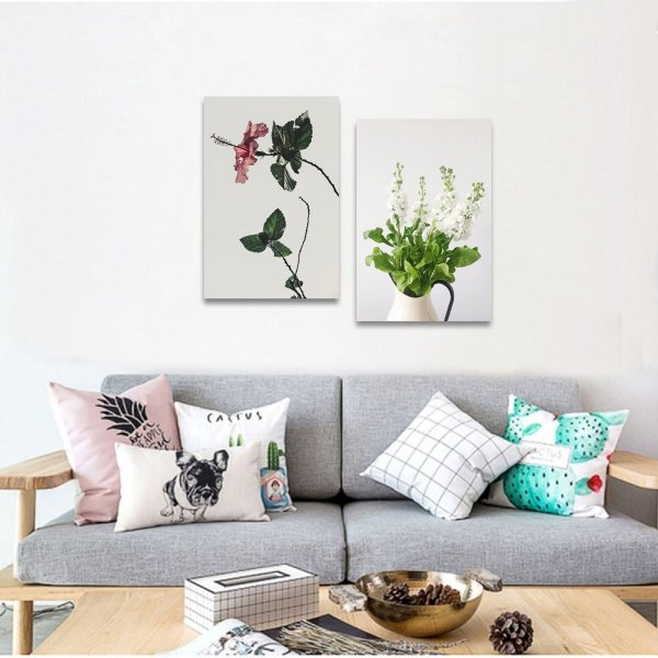 Kit 2 Quadros Vaso e Flores decorativos Plantas