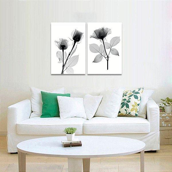 Quadro Preto e Branco Flor Raio X Arte Kit 2 Peças