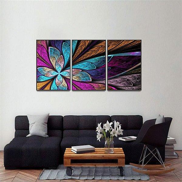 Quadro Abstrato Flor ou Borboleta Fractal Arte Mosaico