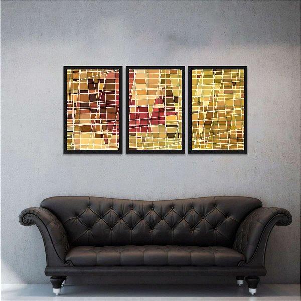Conjunto 3 Quadros Abstratos Vitral Colorido Amarelo e Marrom