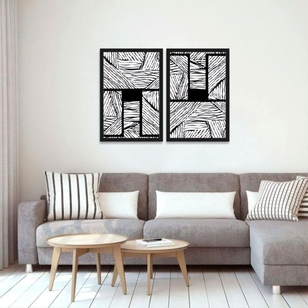Kit 2 Quadros Abstrato em Preto e Branco Moderno Linhas