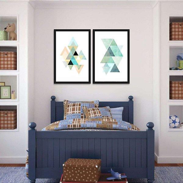 Kit 2 Quadros Modernos Abstratos Geométrico Bright Colors