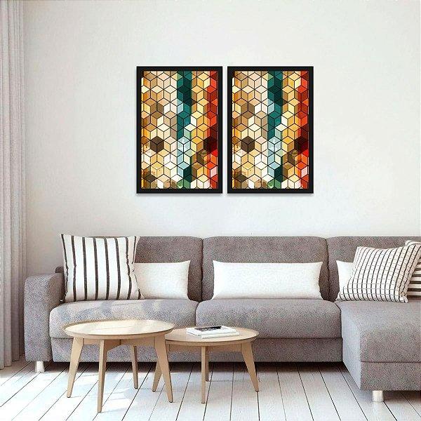 Kit 2 Quadros Geométrico Cubos Moderno Abstrato Colorido