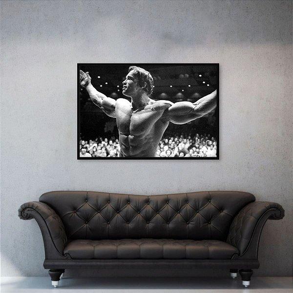 Quadro Arnold Schwarzenegger Retrô Academia em Preto e Branco
