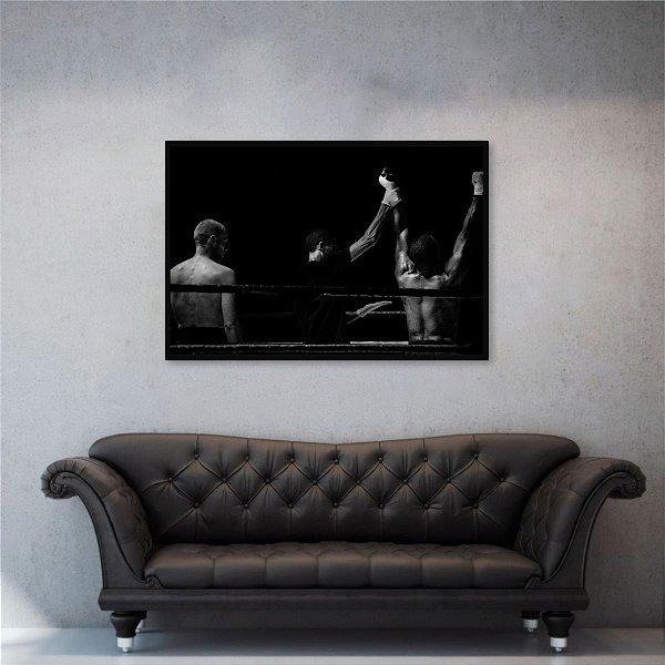 Quadro decorativo Luta Boxe Esportes em Preto e Branco 1 Peça