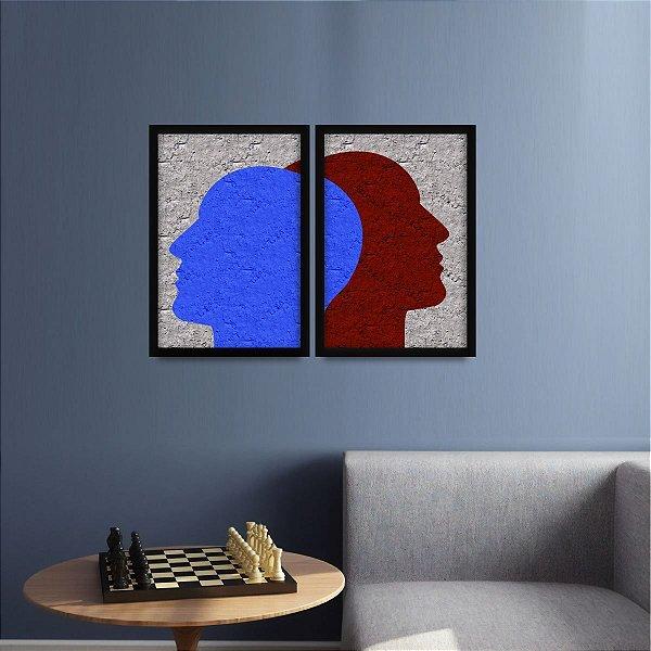 Conjunto 2 Quadros Psicologia Duas Faces do Diálogo decorativo