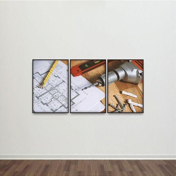 Quadro Projeto e Ferramentas de Trabalho Work decorativo