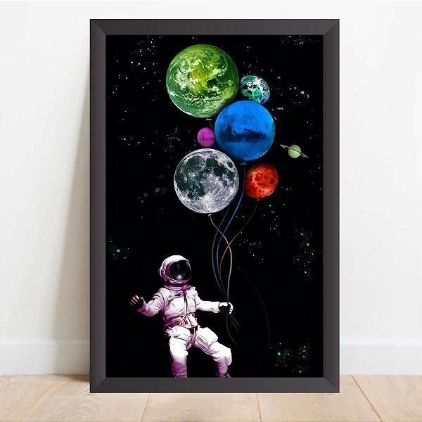 Quadro Coleção Universo Astronauta e os Balões Coloridos