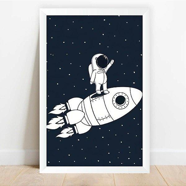 Quadro Coleção Universo Infantil Astronauta e Foguete