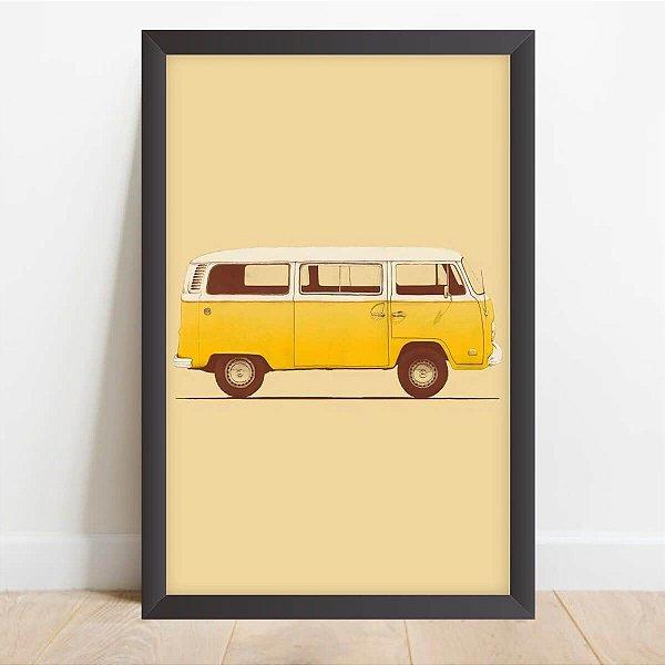 Quadro Decorativo Arte Kombi Amarela Carros Antigos