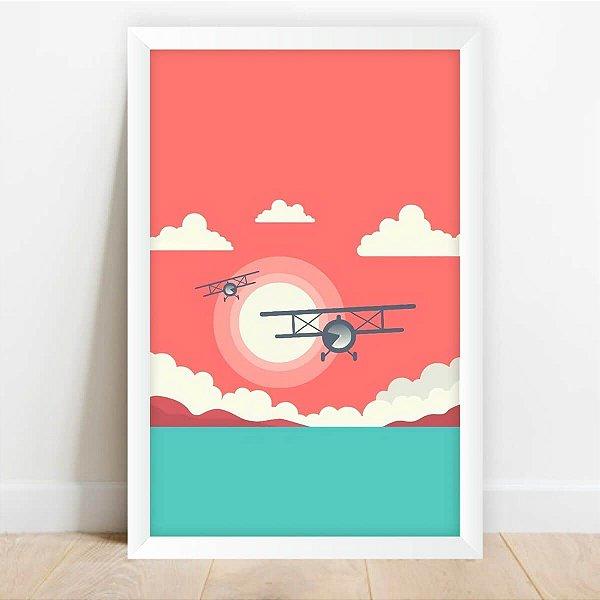 Quadro Decorativo Infantil Arte Avião Céu e Sol