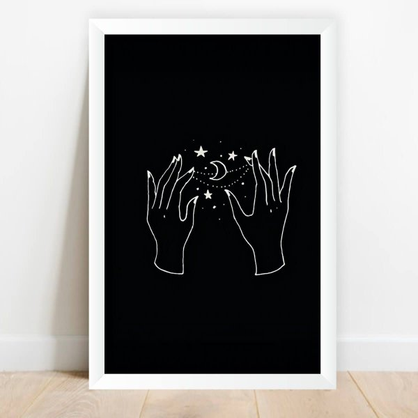 Quadro Decorativo Infantil Ilustração Lua e Estrelas