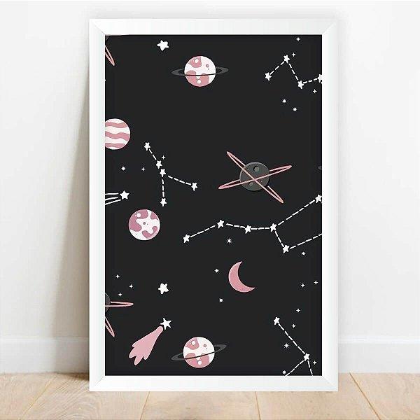 Quadro Infantil Espaço Planetas Rose decorativo