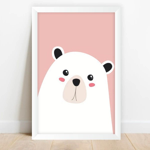 Quadro Coleção Animais da Floresta Ilustração Urso Branco