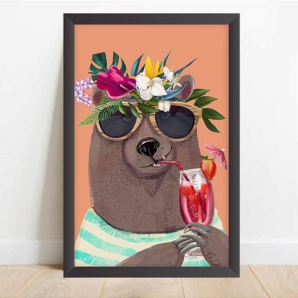 Quadro Coleção Animais da Floresta Urso Estiloso Decorativo