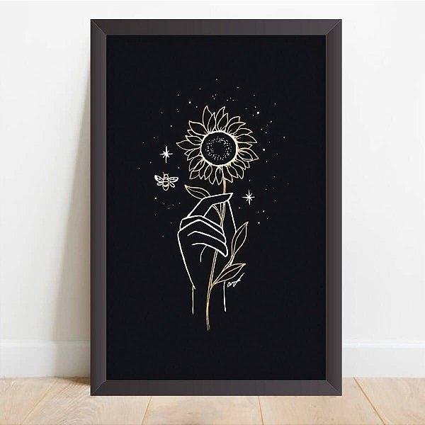Quadro Coleção Flores Girassol Decorativo Sunflower Night