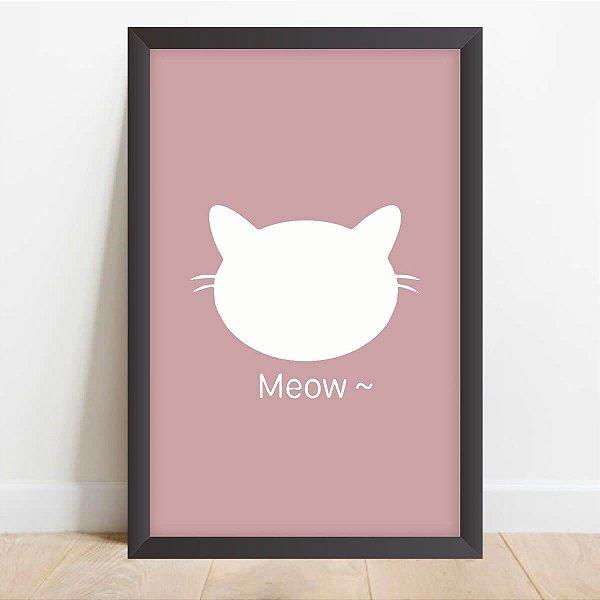 Quadro Coleção Pets Ilustração Meow Decorativo