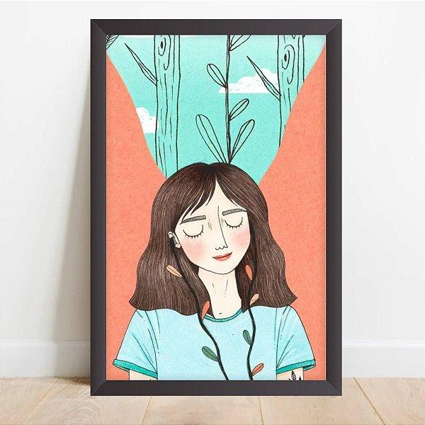 Quadro Decorativo Menina Fones de Ouvido Artístico
