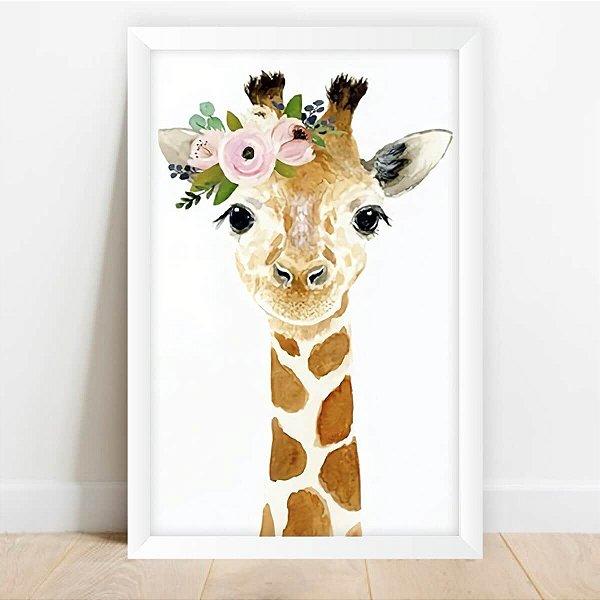 Quadro Girafa Tiara de Flores Artístico Decorativo