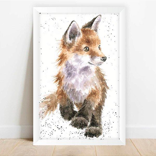Quadro Infantil Coleção Animais da Floresta Raposa Arte Decorativo