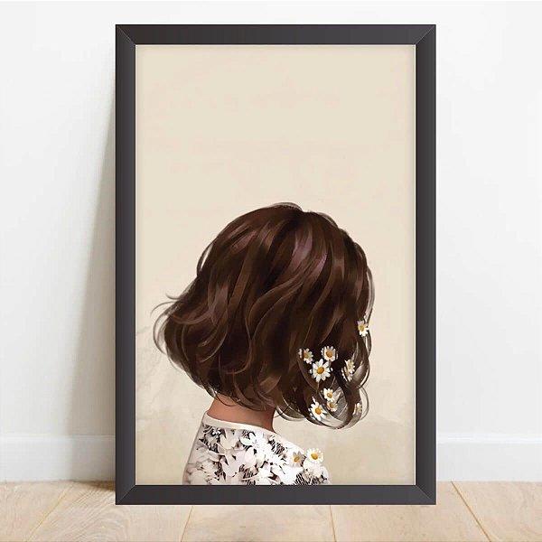 Quadro Menina Flores no Cabelo Artístico Decorativo