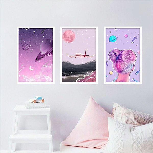 Kit 3 Quadros decorativo Universo de Menina Arte Rosa