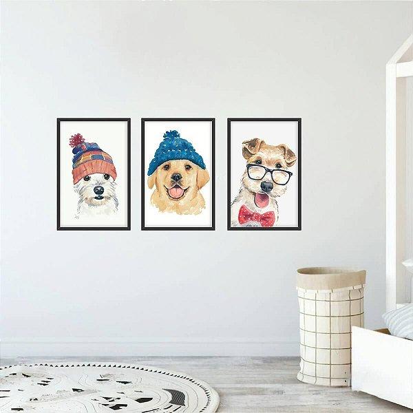 Quadros Infantil Coleção Pets Cachorros Estilosos Kit 3 Peças