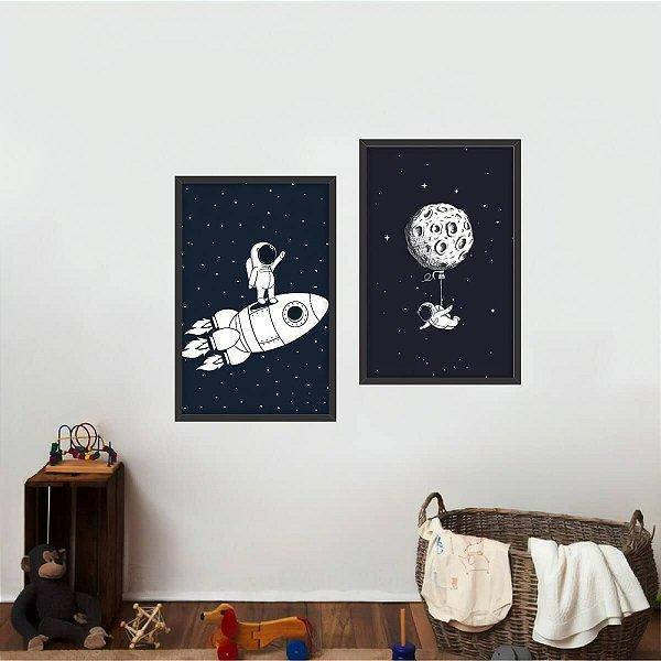 Kit 2 Quadros Arte Coleção Universo Astronautas decorativo