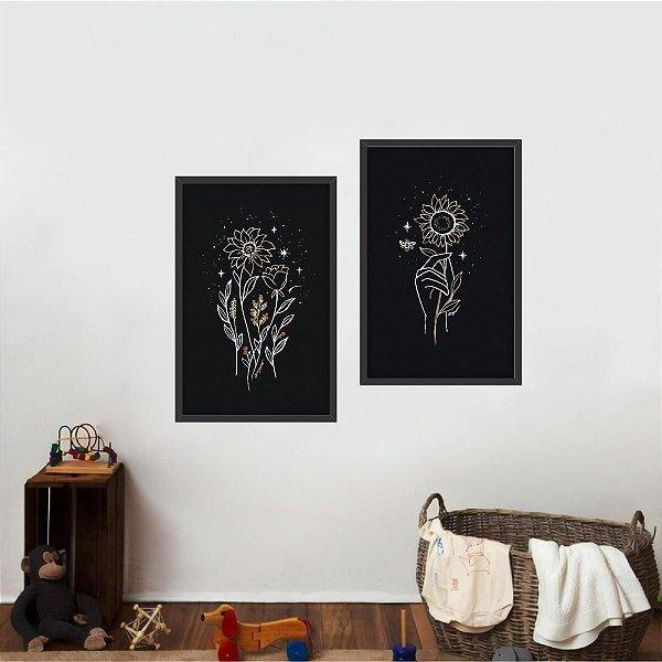 Kit 2 Quadros Coleção Flores Girassol Night Arte Decorativo