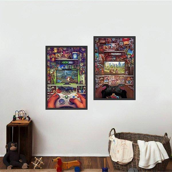 Kit 2 Quadros Infantil Geração de Video Games decorativo