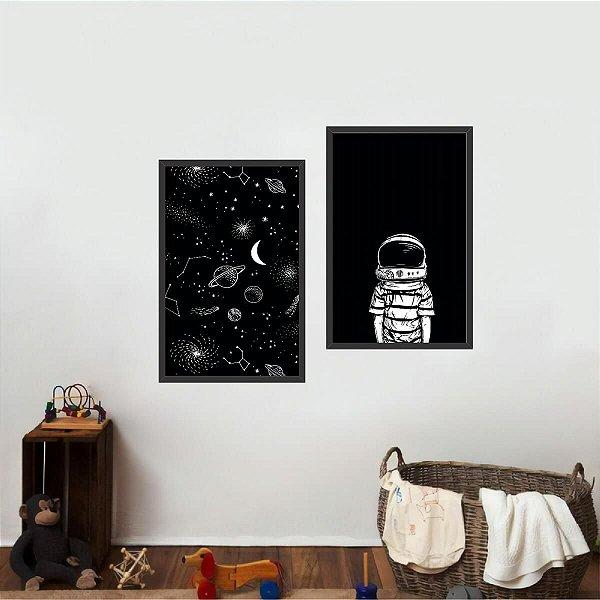 Quadro Arte Universo Astrounauta Drawing Coleção Kit 2 Peças