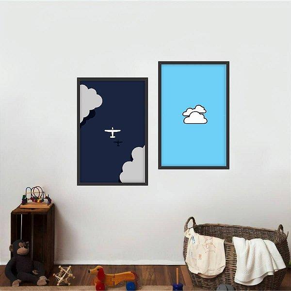 Quadro Aviação Arte Infantil Clouds Kit 2 Peças