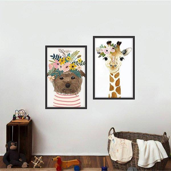 Quadro Coleção Animais Kit 2 Peças Flores decorativo