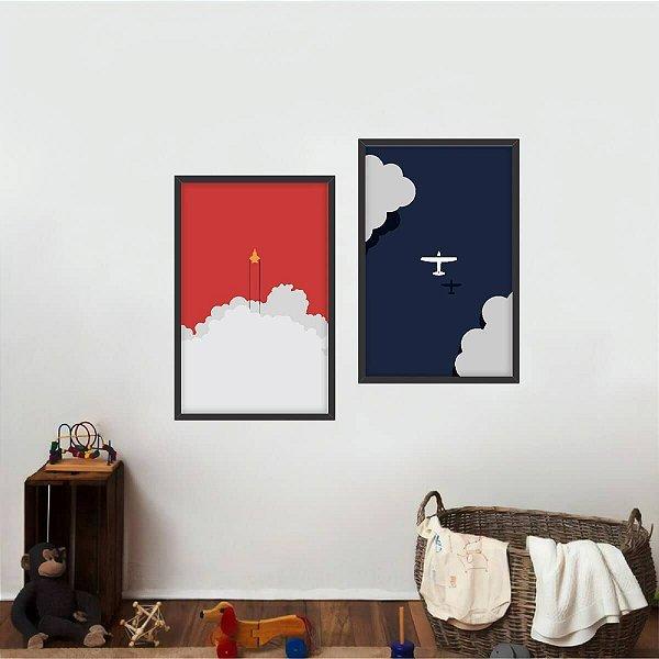 Quadro decorativo Avião Nuvens Jato Arte Infantil