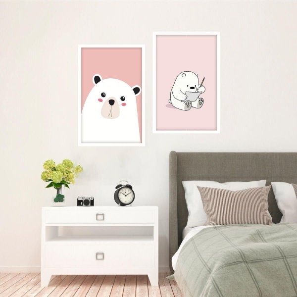 Quadro decorativo Infantil Urso Animais da Floresta Kit 2 Peças
