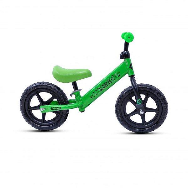 Bicicleta RAVA Balance Infantil Aro 12 Verde/Preto