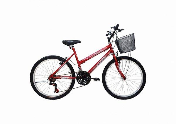 Bicicleta CAIRU Bella Aro 24 Vermelha c/ Cesta