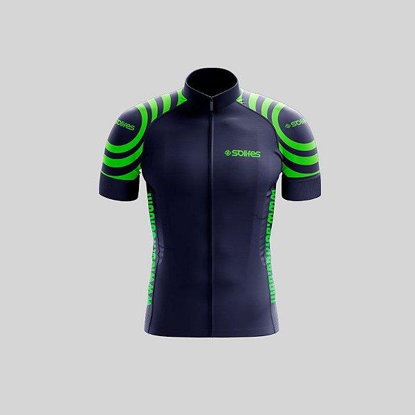 Camisa Ciclismo SOLIFES Azul c/ Verde -Tam. GG